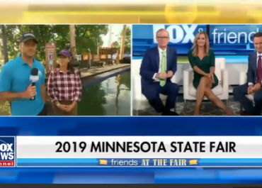Pete Hegseth tries logrolling at the Minnesota State Fair